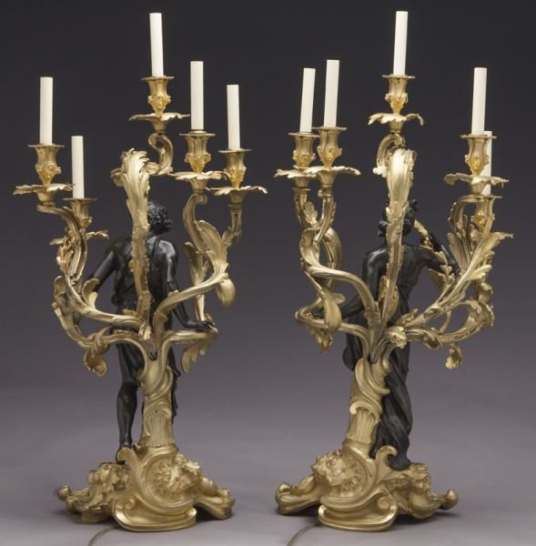 Large gilt bronze and patinated 5-light candelabra - 4
