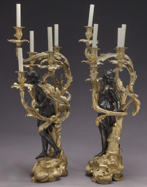 Large gilt bronze and patinated 5-light candelabra - 5