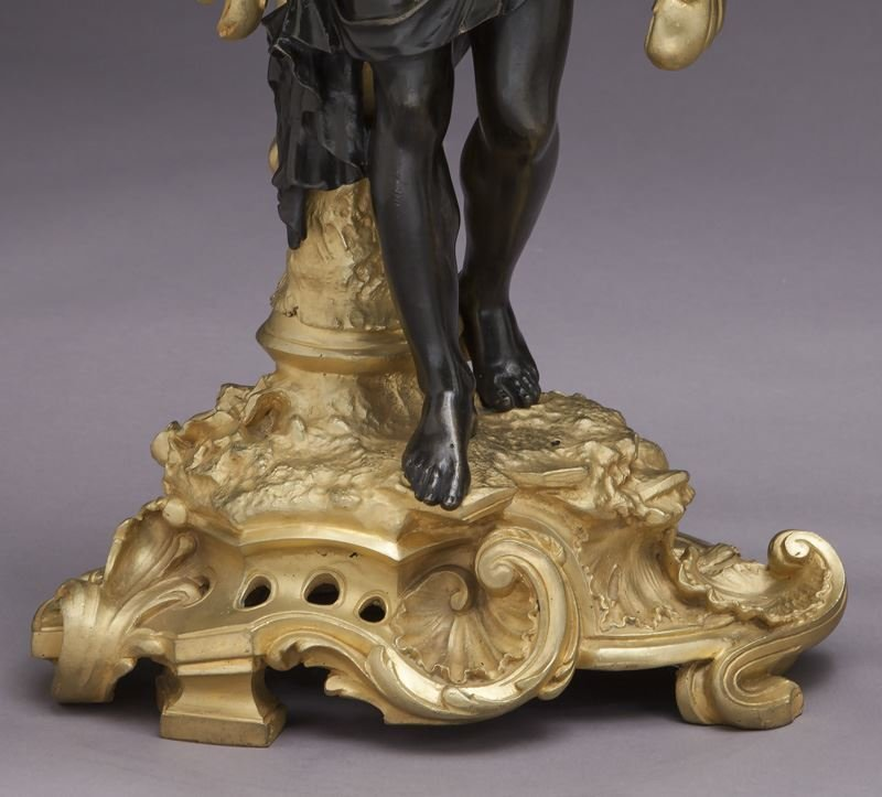 Large gilt bronze and patinated 5-light candelabra - 8