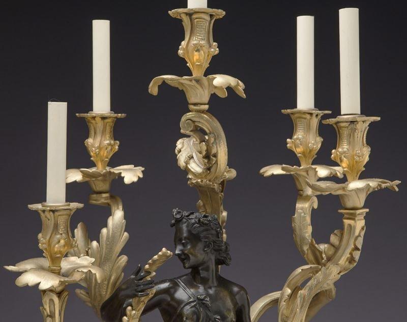 Large gilt bronze and patinated 5-light candelabra - 9