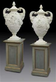 "Pair of carved marble urns signed, ""D' Epinay"""