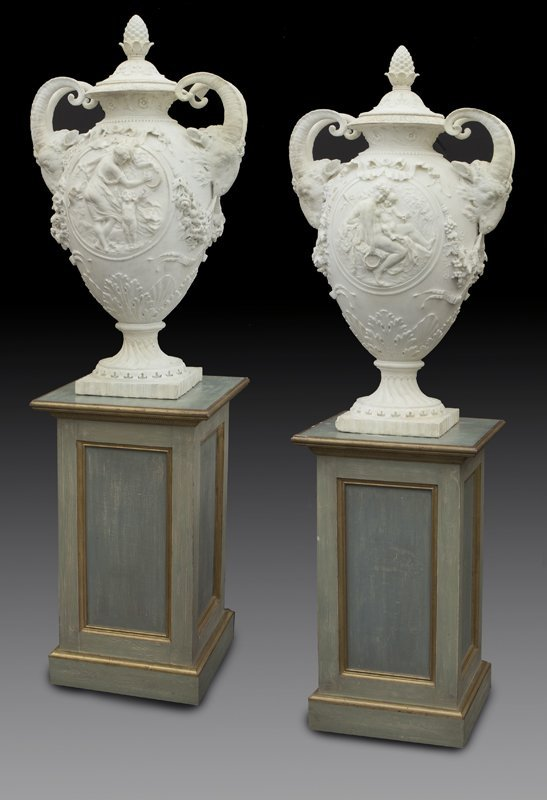 """Pair of carved marble urns signed, """"D' Epinay"""""""