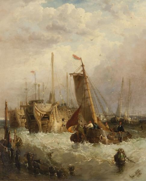 """James Webb """"Boats in the Harbor"""" oil on canvas,"""