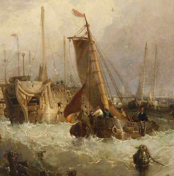 """James Webb """"Boats in the Harbor"""" oil on canvas, - 4"""