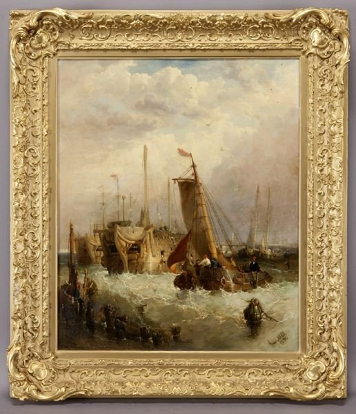 """James Webb """"Boats in the Harbor"""" oil on canvas, - 5"""