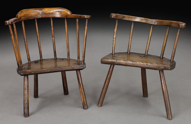 (2) Early 18th C. Welsh stick back chairs