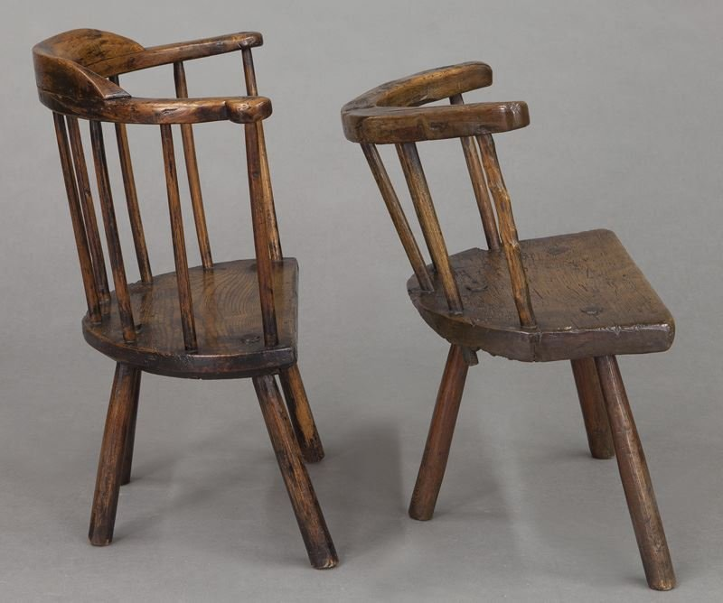 (2) Early 18th C. Welsh stick back chairs - 5