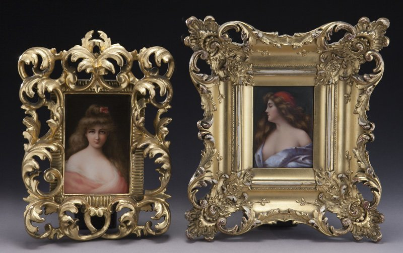 (2) German painted porcelain plaques,