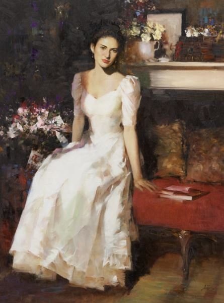 """An He """"Untitled (Portrait of a woman in a white"""