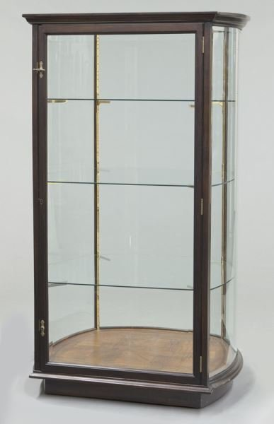 Mahogany curved glass display cabinet - 2