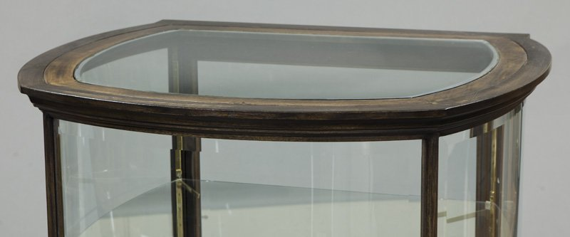 Mahogany curved glass display cabinet - 3