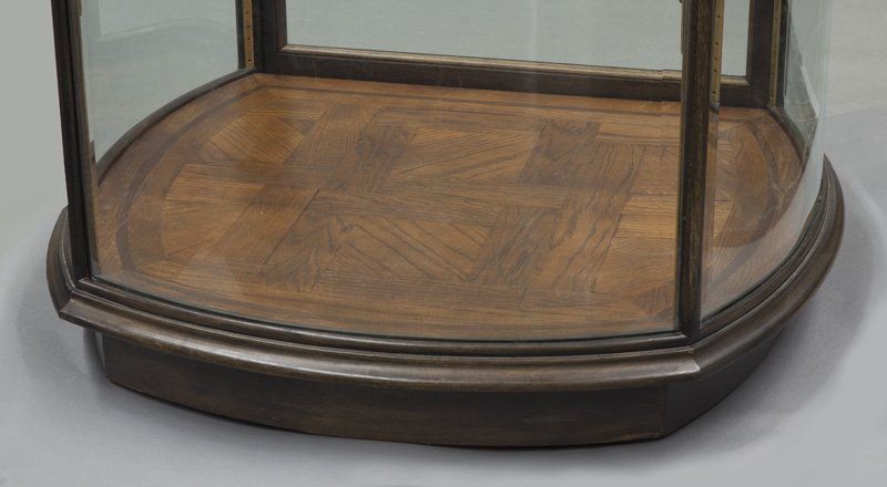 Mahogany curved glass display cabinet - 4