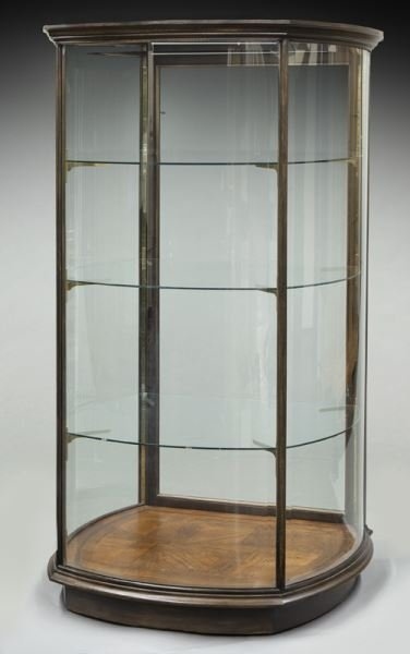 Mahogany curved glass display cabinet - 7