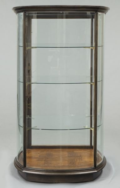Mahogany curved glass display cabinet - 8