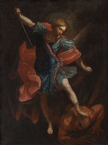 "After Guido Reni ""Michael Tramples Satan"" oil on"