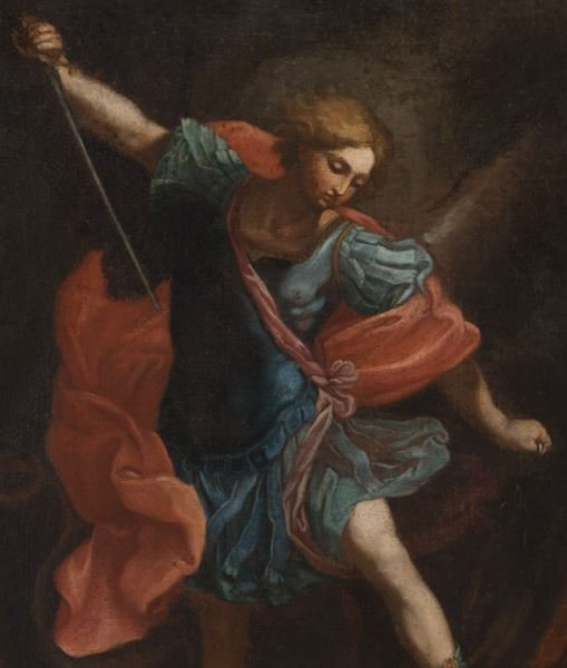 "After Guido Reni ""Michael Tramples Satan"" oil on - 2"