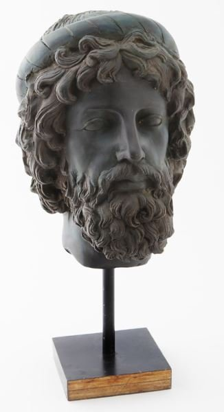Greco-Roman head of Poseidon, hollow cast bronze
