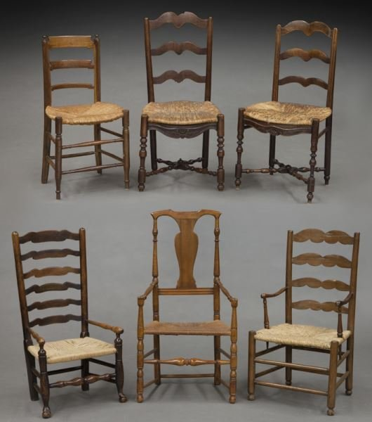 (6) Antique chairs including : (1) Early American