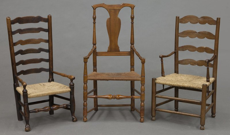 (6) Antique chairs including : (1) Early American - 2