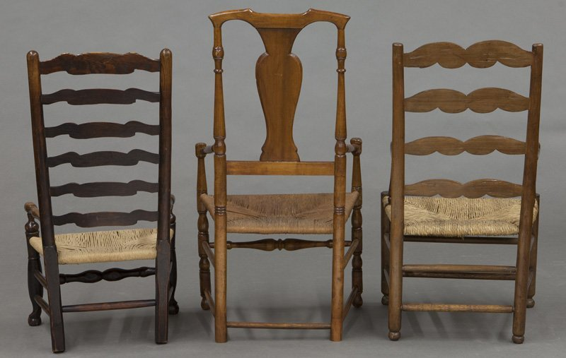 (6) Antique chairs including : (1) Early American - 4