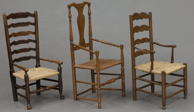 (6) Antique chairs including : (1) Early American - 5