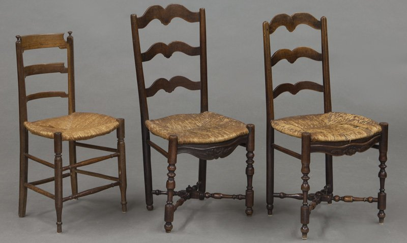 (6) Antique chairs including : (1) Early American - 9