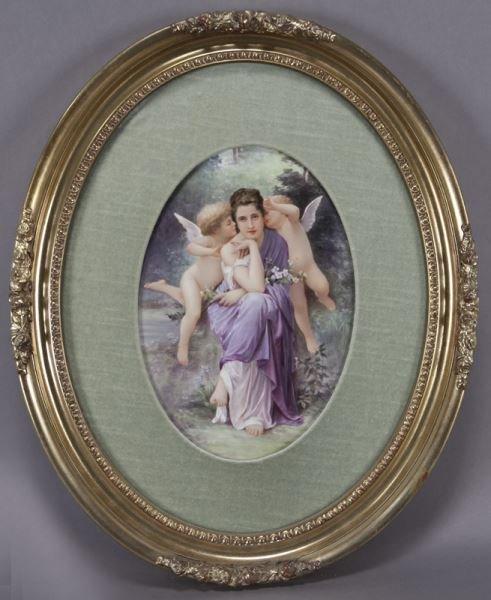 Large oval gilt framed painted porcelain plaque