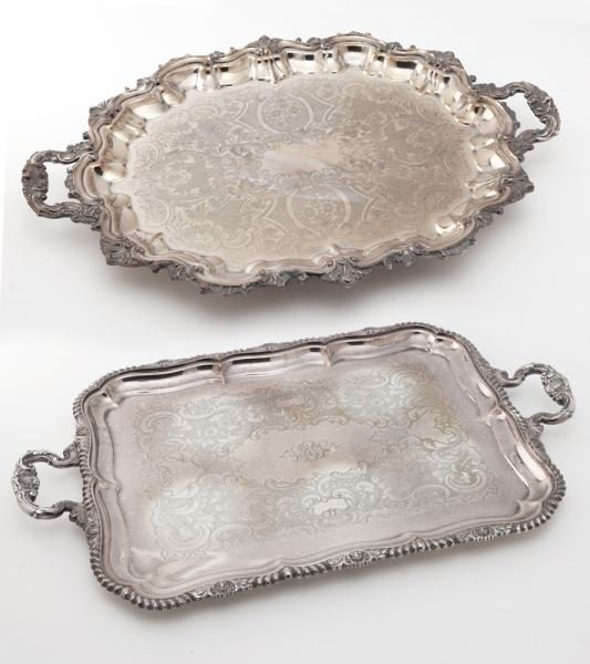 (2) Large English silverplate serving trays,