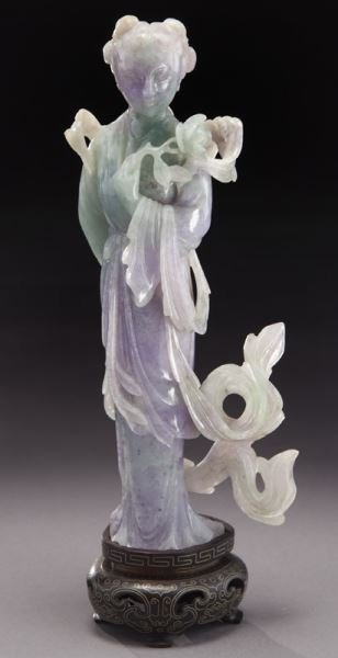 Chinese carved lavender and light green jade