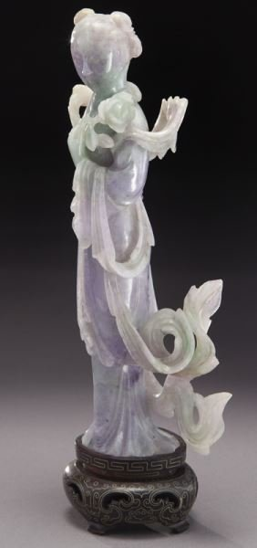 Chinese carved lavender and light green jade - 2