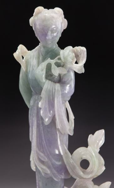 Chinese carved lavender and light green jade - 5