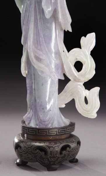 Chinese carved lavender and light green jade - 6