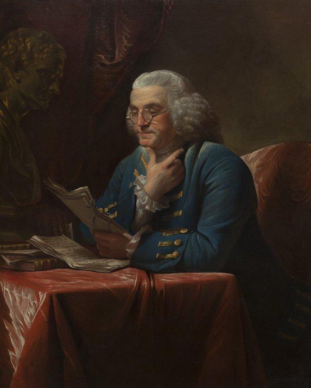 """David Martin """"Portrait of Benjamin Franklin"""" oil"""