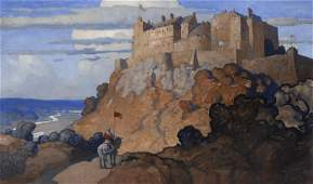 """Newell Convers Wyeth """"Stirling Castle"""" oil on"""