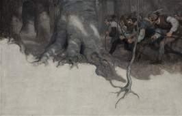 """Newell Convers Wyeth """"Black Arrow Endpapers"""" oil"""