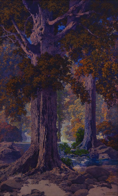 """Maxfield Parrish """"Autumn Woods"""" oil on panel,"""