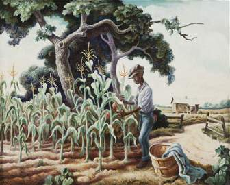 "Thomas Hart Benton ""Roasting Ears"" egg tempera"