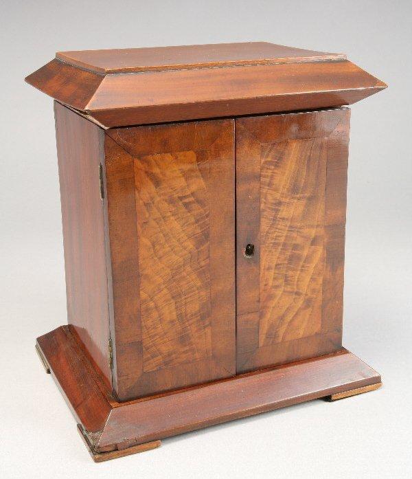 2: A burl walnut jewelry box, the step top lid