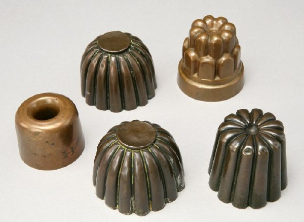 4: (5) miniature copper food molds with tinned