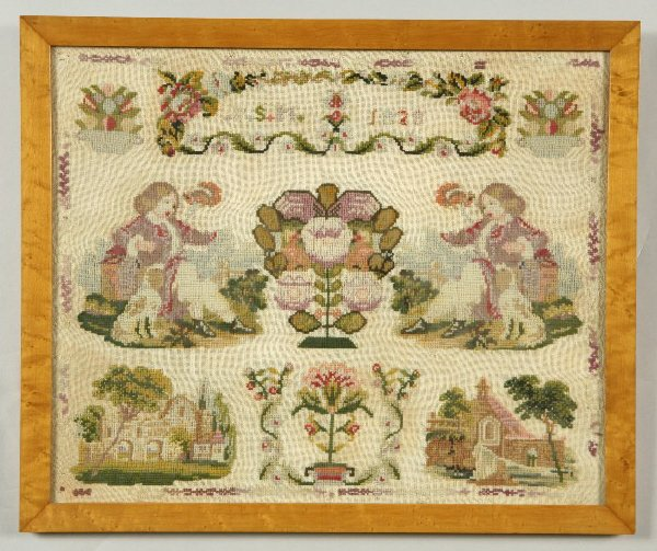 """6: A 1828 sampler wrought by """"P.S.M,"""" having a floral"""