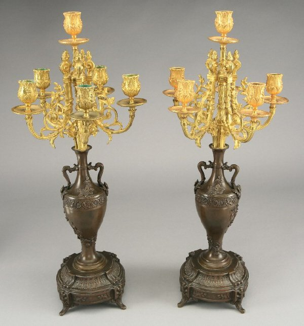 8: Pair of patinated and gilt bronze six light