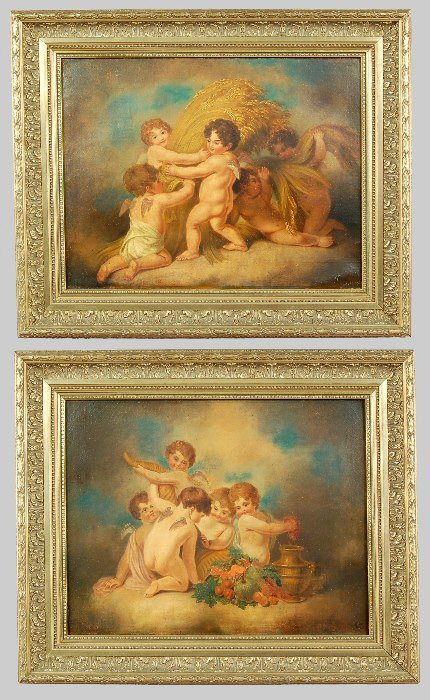 10: Pair of continental oil paintings on canvas