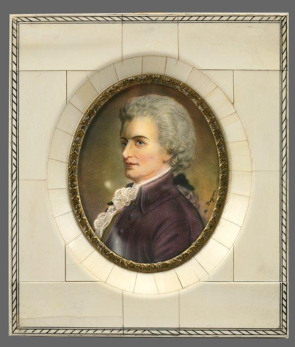 12: Portrait miniature on ivory of Wolfgang Amadeus