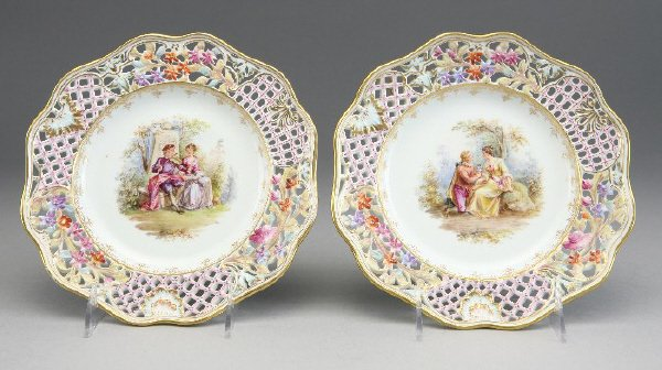 16: (8) Dresden reticulated porcelain cabinet plates,