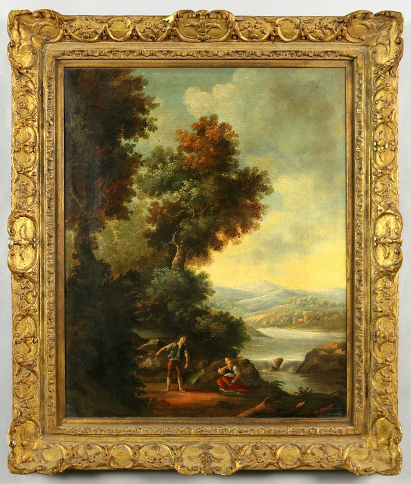 19: A continental oil painting on canvas bucolic