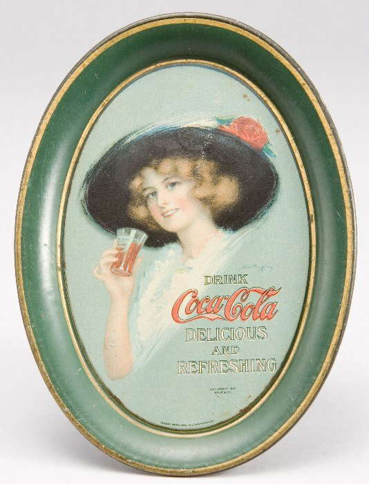 21: Coca-Cola 1913 change tray having a painting