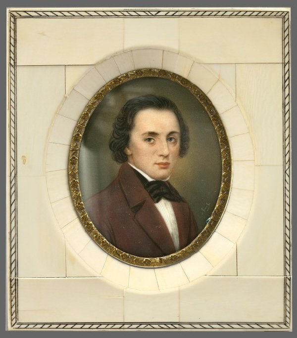 22: Portrait miniature on ivory of Frederic Chopin;
