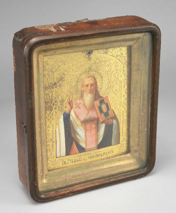 24: A Russian icon depicting depicting a saint, finely