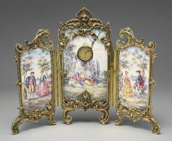 135: Miniature French Limoges enamel screen clock