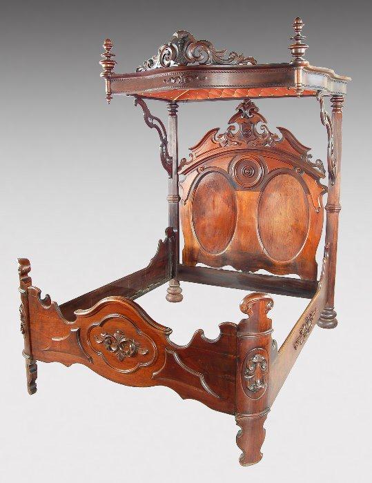 181: Victorian Rococo Revival half-tester mahogany